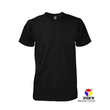 BOXY Premium Cotton Round Neck Plain T-shirt (Black)