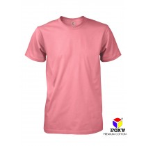 [BOXY]PREMIUM COTTON ROUND NECK T-SHIRT - CORAL