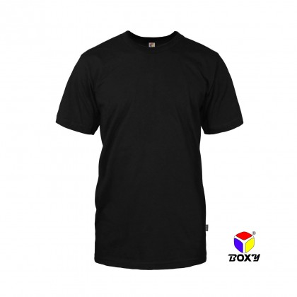 BOXY Microfiber Round Neck Plain T-shirt (Black)