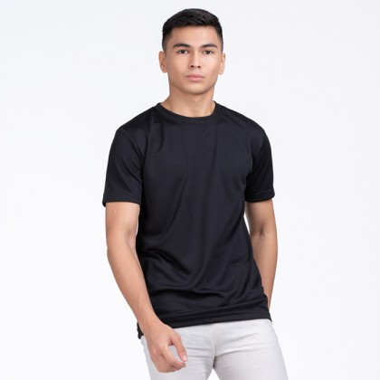 BOXY Microfiber Round Neck Plain T-shirt (Black)