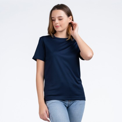 BOXY Microfiber Round Neck Plain T-shirt (Navy Blue)