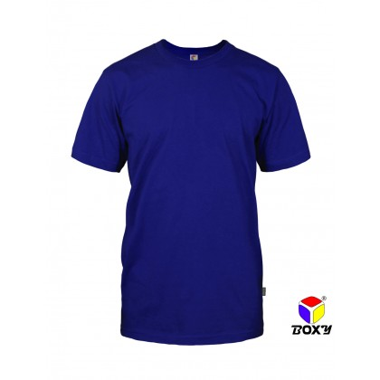 BOXY Microfiber Round Neck Plain T-shirt (Royal Blue)