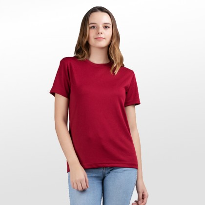 BOXY Microfiber Round Neck Plain T-shirt (Maroon)