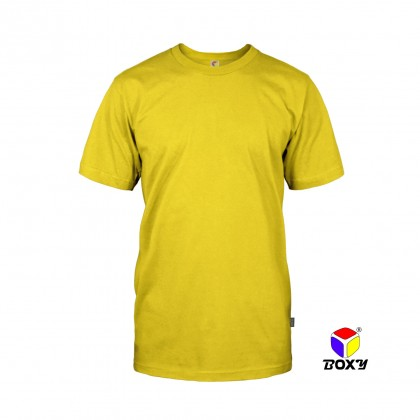 BOXY Microfiber Round Neck Plain T-shirt (Yellow)