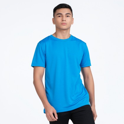 BOXY Microfiber Round Neck Plain T-shirt (Sea Blue)