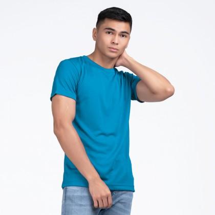 BOXY Microfiber Round Neck Plain T-shirt (Turquiose Blue)
