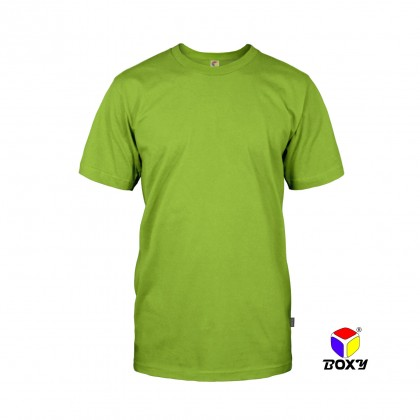 BOXY Microfiber Round Neck Plain T-shirt (Apple Green)