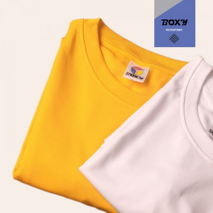 BOXY Microfiber Round Neck Plain T-shirt (Orange)