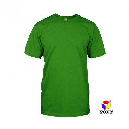 BOXY Microfiber Round Neck Plain T-shirt (Irish Green)
