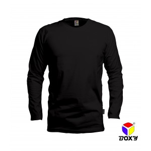 [BOXY]MICROFIBER ROUND NECK LONG SLEEVES T-SHIRT - BLACK
