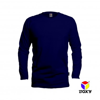 BOXY Microfiber Round Neck Long Sleeves Plain T-shirt  (Navy)
