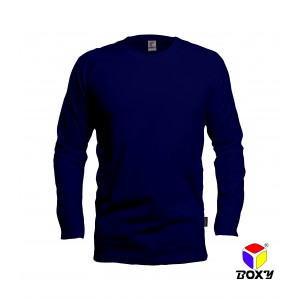 [BOXY]MICROFIBER ROUND NECK LONG SLEEVES T-SHIRT - NAVY