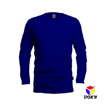BOXY Microfiber Round Neck Long Sleeves Plain T-shirt  (Royal Blue)