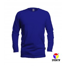 [BOXY]MICROFIBER ROUND NECK LONG SLEEVES T-SHIRT - ROYAL