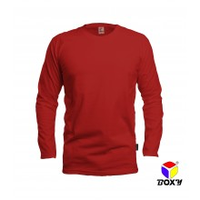 [BOXY]MICROFIBER ROUND NECK LONG SLEEVES T-SHIRT - RED