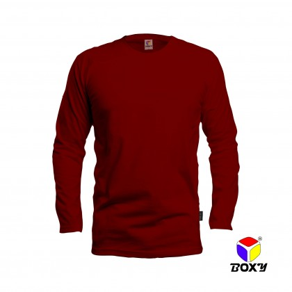 BOXY Microfiber Round Neck Long Sleeves Plain T-shirt  (Maroon)