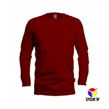 [BOXY]MICROFIBER ROUND NECK LONG SLEEVES T-SHIRT - MAROON