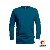 BOXY Microfiber Round Neck Long Sleeves T-shirt - Turquoise
