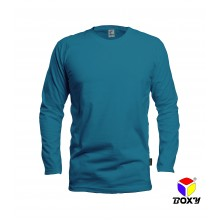 [BOXY]MICROFIBER ROUND NECK LONG SLEEVES T-SHIRT - TURQUOISE