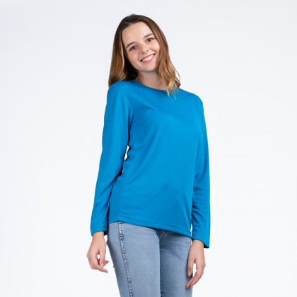 BOXY Microfiber Round Neck Long Sleeves Plain T-shirt  (Turquoise Blue)