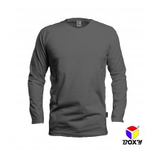 [BOXY]MICROFIBER ROUND NECK LONG SLEEVES T-SHIRT - GREY