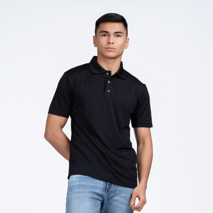 BOXY Microfiber Classic Short Sleeve Polo Shirt (Black)
