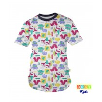 [BOXY]KIDS PREMIUM COTTON GRAPHIC TEE - NAVY/FOREST FRIEND