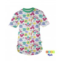 [BOXY]KIDS PREMIUM COTTON GRAPHIC TEE - GREEN/FOREST FRIEND