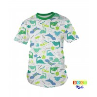 [BOXY]KIDS PREMIUM COTTON GRAPHIC TEE - GREEN/DINOS