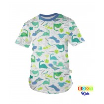 [BOXY]KIDS PREMIUM COTTON GRAPHIC TEE - BLUE/DINOS