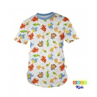 [BOXY]KIDS PREMIUM COTTON GRAPHIC TEE - BLUE/SWEET ANIMALS