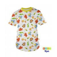 [BOXY]KIDS PREMIUM COTTON GRAPHIC TEE - YELLOW/ SWEET ANIMALS