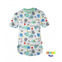 [BOXY]KIDS PREMIUM COTTON GRAPHIC TEE - MINT/UNDER THE SEA