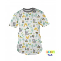 [BOXY]KIDS PREMIUM COTTON GRAPHIC TEE - MELANGE/WOODLANDS