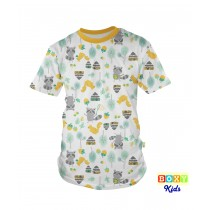 [BOXY]KIDS PREMIUM COTTON GRAPHIC TEE - YELLOW/WOODLANDS