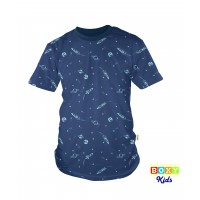 [BOXY]KIDS PREMIUM COTTON GRAPHIC TEE - NAVY SPACE