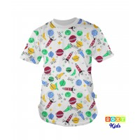 [BOXY]KIDS PREMIUM COTTON GRAPHIC TEE - FLYING TO SPACE