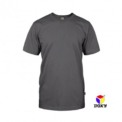 BOXY Microfiber Round Neck Plain T-shirt (Grey)