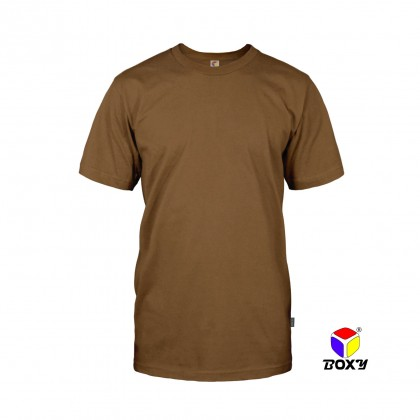 BOXY Microfiber Round Neck Plain T-shirt (Brown)