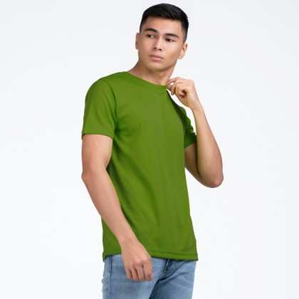 BOXY Microfiber Round Neck Plain T-shirt (Army Green)