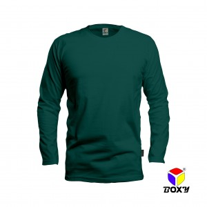 BOXY Microfiber Round Neck Long Sleeves T-shirt - Forest Green