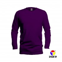 BOXY Microfiber Round Neck Long Sleeves T-shirt  - Dk Violet