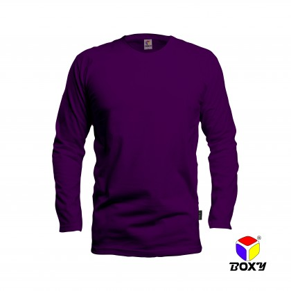 BOXY Microfiber Round Neck Long Sleeves Plain T-shirt  (Dark Violet)