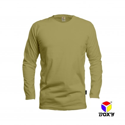 BOXY Microfiber Round Neck Long Sleeves Plain T-shirt  (Khaki)