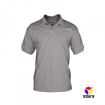 BOXY Cotton Blend Classic Short Sleeve Polo Shirts with Collar (Light Grey)