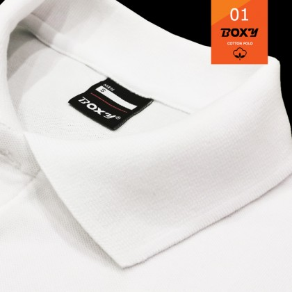 BOXY Cotton Classic Polo Shirts (White)