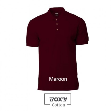 BOXY Cotton Classic Polo Shirts (Maroon)