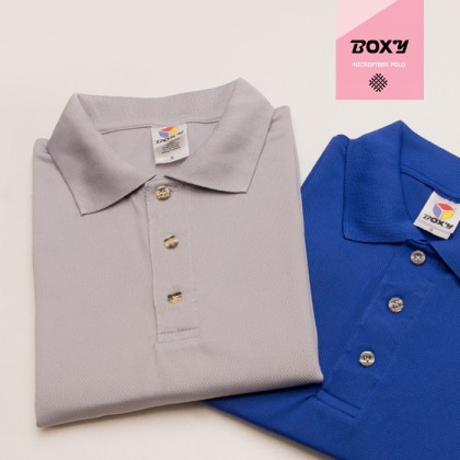 BOXY Microfiber Classic Short Sleeve Polo Shirts with Collar (Sea Blue)