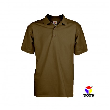 BOXY Microfiber Classic Short Sleeve Polo Shirts with Collar (Dark Brown)