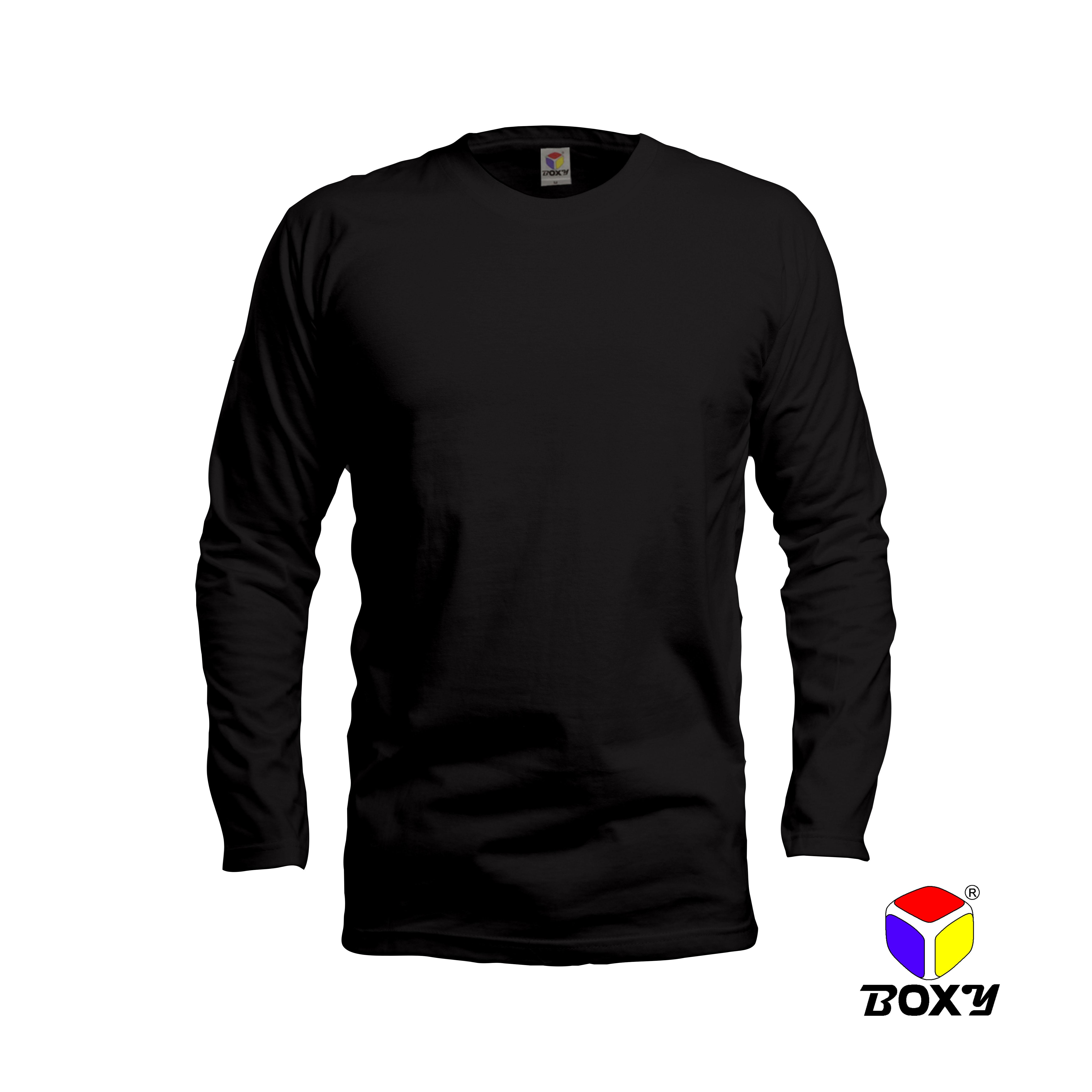 BOXY Microfiber Round Neck Long Sleeves Plain T-shirt (Black)